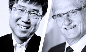 Ha-Joon Chang and Mogens Lykketoft (foto: FN/Mark Garten. Collage: Det Kongelige Bibliotek)