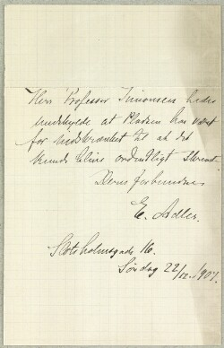 Letter from                         Adler, E.                         to                         Simonsen, David