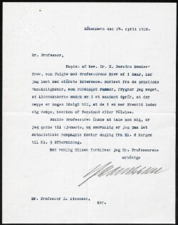 Letter from                         Andersen, H. N.                         to                         Simonsen, David