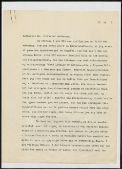 Letter to                         Andersen, J. Oskar                         from                         Simonsen, David