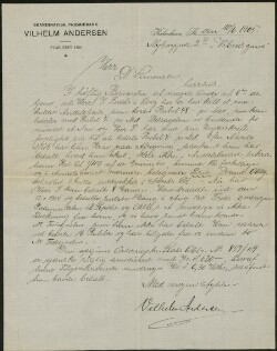 Letter from                         Andersen, Vilhelm                         to                         Simonsen, David