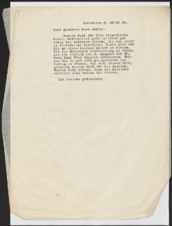 Letter to                         Ascher, Fritz                         from                         Simonsen, David