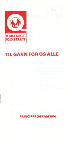 Til gavn for os alle : Principprogram 1974