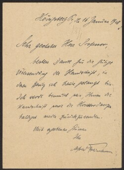 Letter from                         Freimann, Alfred                         to                         Simonsen, David