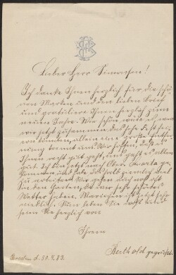 Letter from                         Freudenthal, Berthold                         to                         Simonsen, David