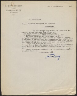 Letter from                         Friedmann, S.                         to                         Simonsen, David