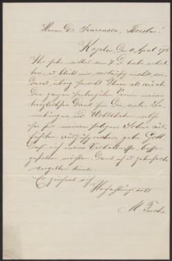 Letter from                         Fuchs, M.                         to                         Simonsen, David