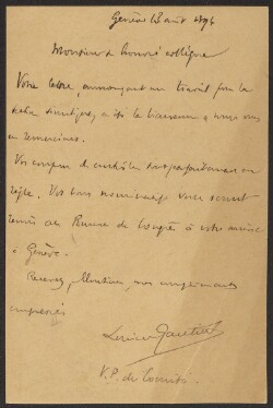 Letter from                         Gautier, Lucien                         to                         Simonsen, David