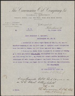 Letter from                         Caucasian Oil Company, Copenhagen                         to                         Simonsen, David